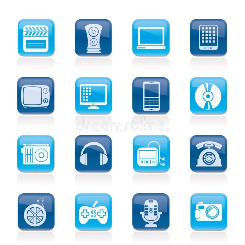 Multimedia ed icone di tecnologia illustrazione di stock