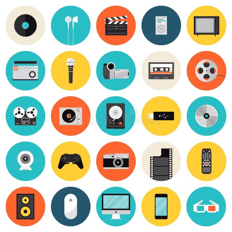 Multimedia en technologie vlakke pictogrammen royalty-vrije illustratie