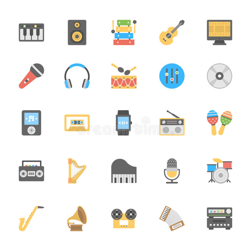 Multimedia Flat Colored Icons 1 stock illustration