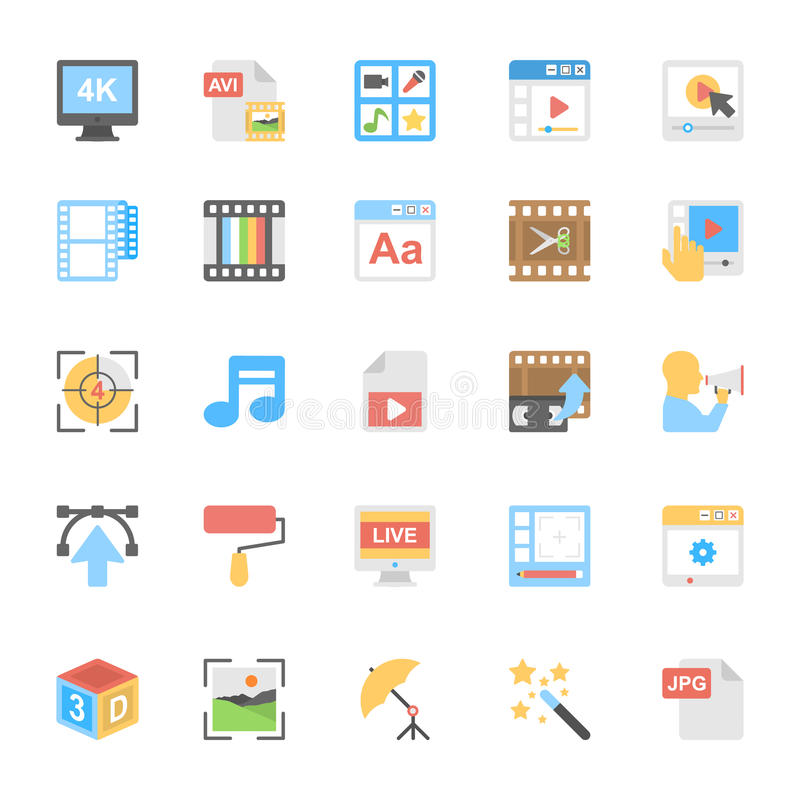 Multimedia Flat Colored Icons 8 royalty free illustration
