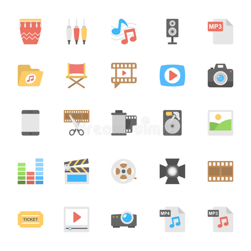 Multimedia Flat Colored Icons 2 vector illustration