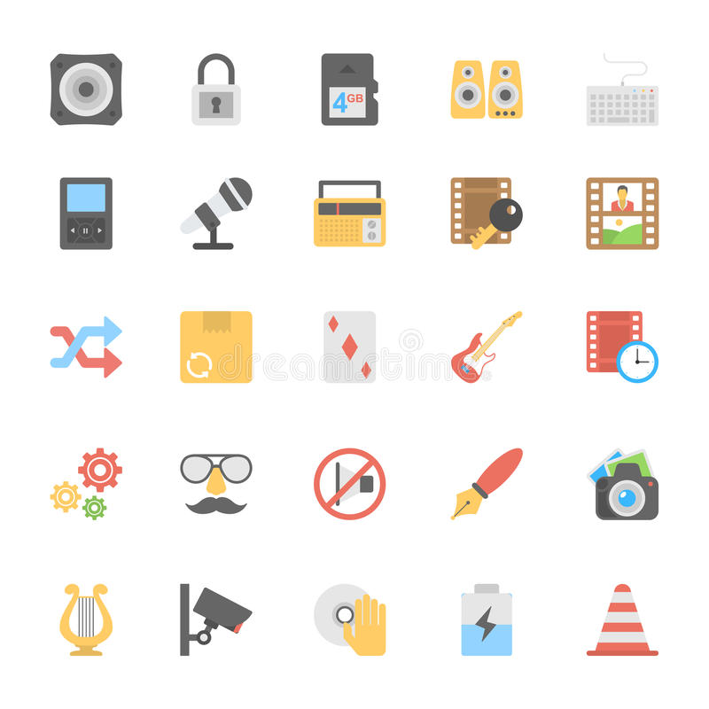Multimedia Flat Colored Icons 5 stock illustration
