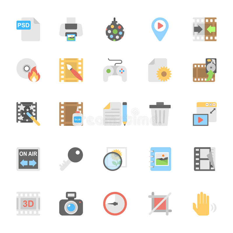 Multimedia Flat Colored Icons 9 stock illustration