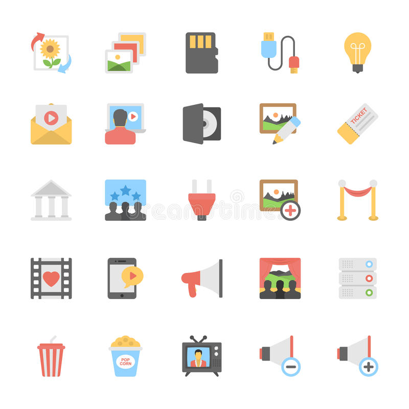 Multimedia Flat Colored Icons 10 royalty free illustration