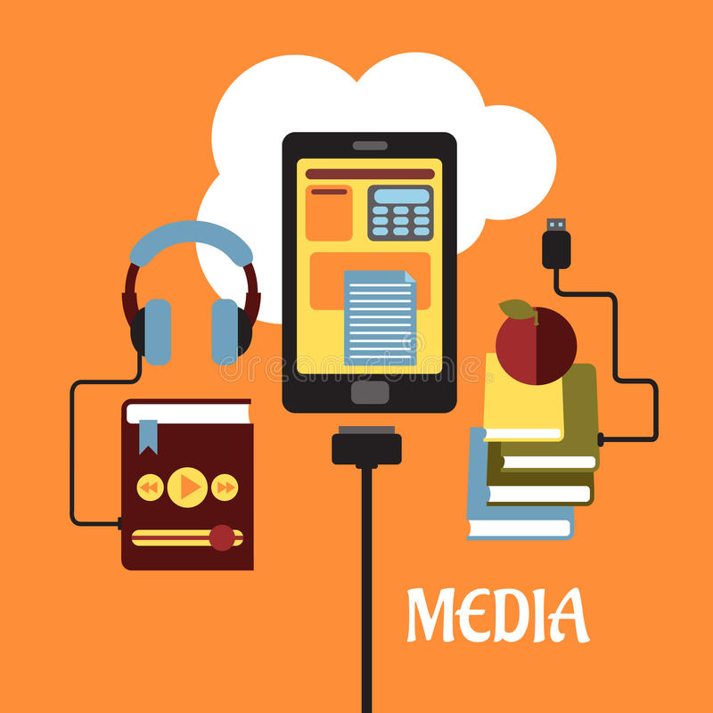 Multimedia flat concept. With headphones connected to an MP3 player, tablet showing various online apps and books connected to the cloud for e-learning, vector vector illustration