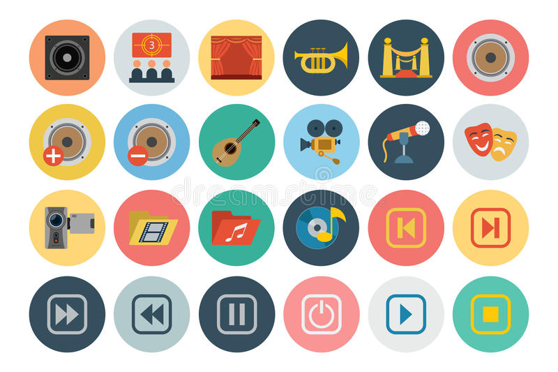 Multimedia Flat Icons 3 vector illustration