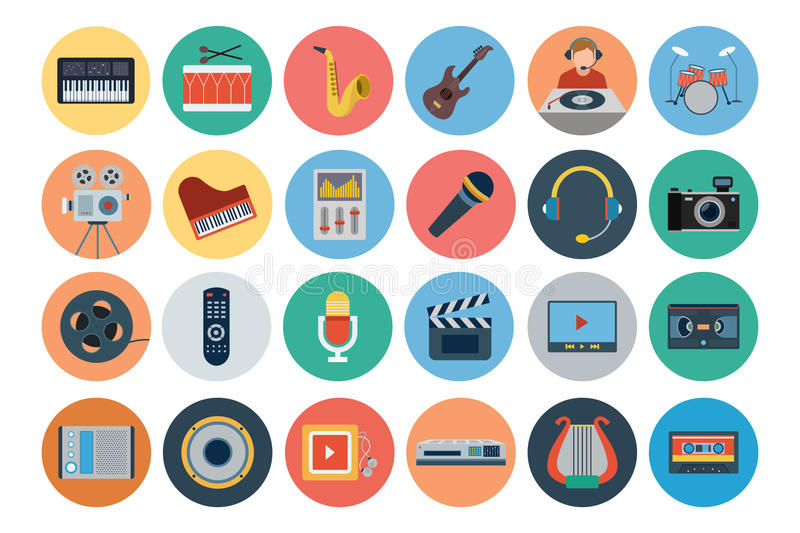 Multimedia Flat Icons 3 royalty free illustration