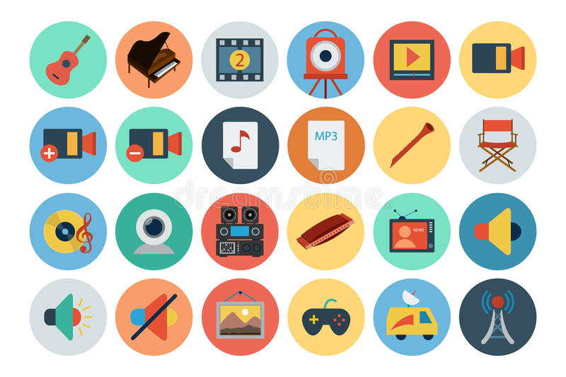 Multimedia Flat Icons 5 stock illustration