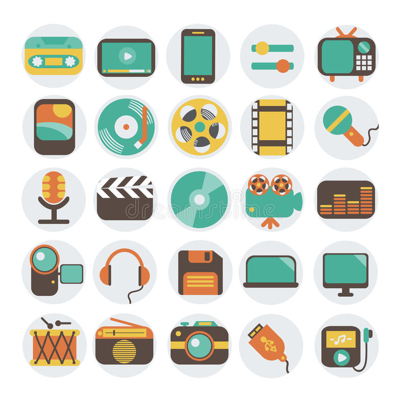 Multimedia flat icons set. Modern flat icons vector illustration collection in stylish colors of multimedia symbols, sound instruments, audio and video items and royalty free illustration