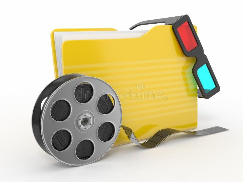 Multimedia folder. Film reel and 3d glasses stock illustration