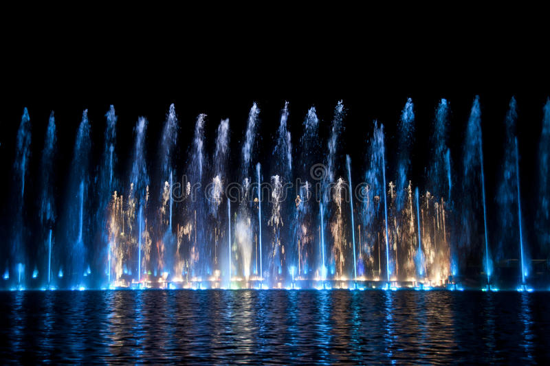 Multimedia fountain in Wroclaw royalty free stock photo