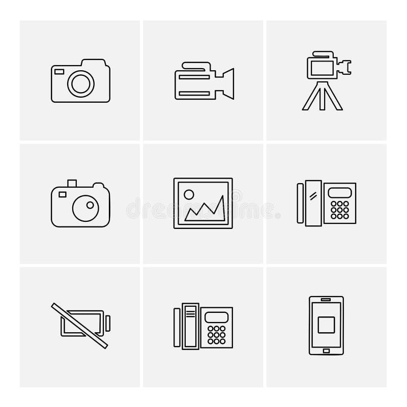 multimedia, gebruikersinterface, camera, technologie, eps pictogrammense royalty-vrije illustratie