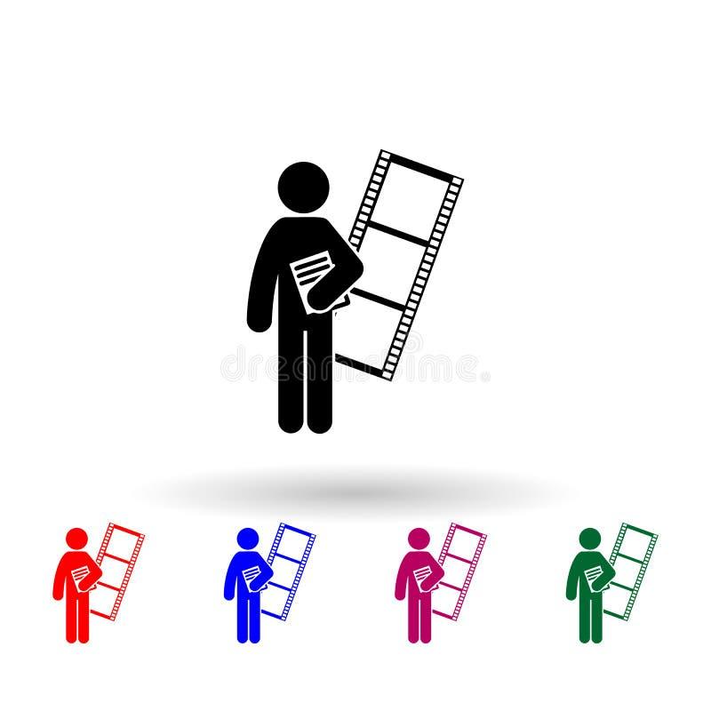 Multimedia-Grad-Mehrfarbensymbol Einfache Glyphe, flacher Vektor für die Icons der Studierenden für i und ux, Website oder mobile stock abbildung