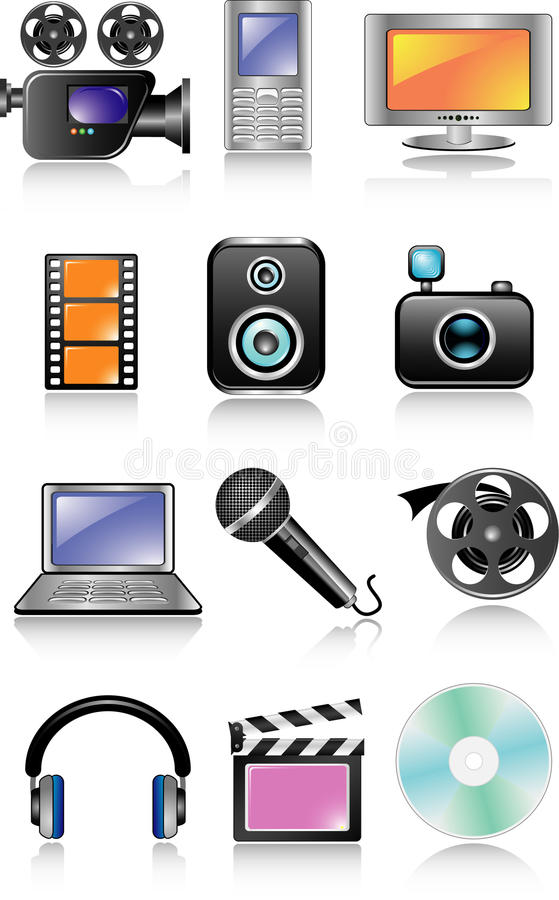 Download Multimedia icon set stock vector. Image of store, conference - 10855908