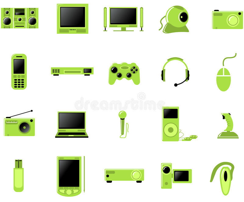 Multimedia icon set stock illustration