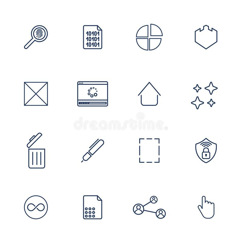 Multimedia icons for app, programs and sites. Universal icons royalty free illustration