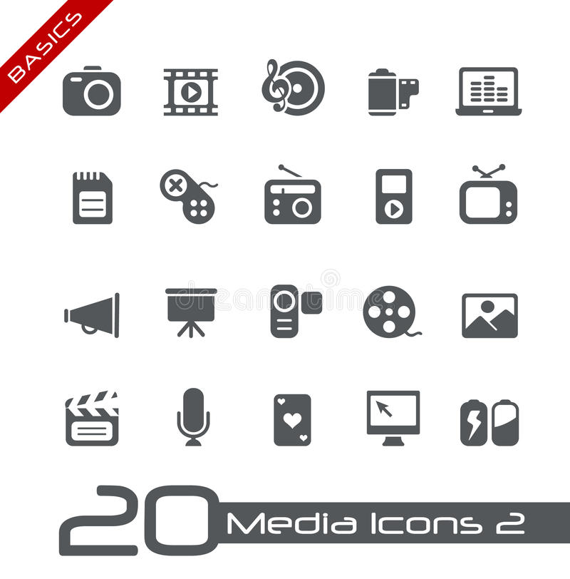 Multimedia Icons // Basics royalty free illustration