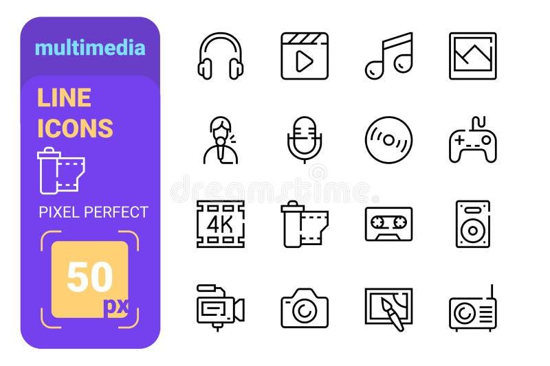 Multimedia-Icons für Fotovideogeräte lizenzfreie abbildung