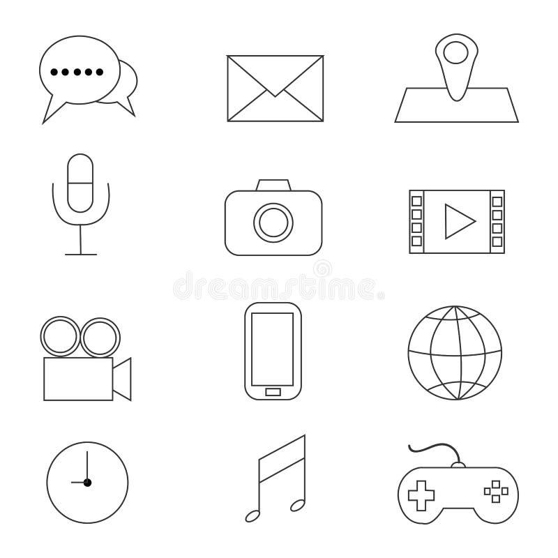Multimedia Icons set. Multimedia Icons with White Background vector illustration