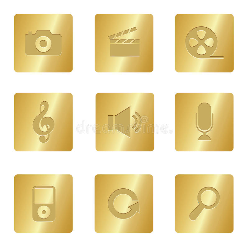 Multimedia-Ikonen | Bronzequadrat 03 lizenzfreie abbildung