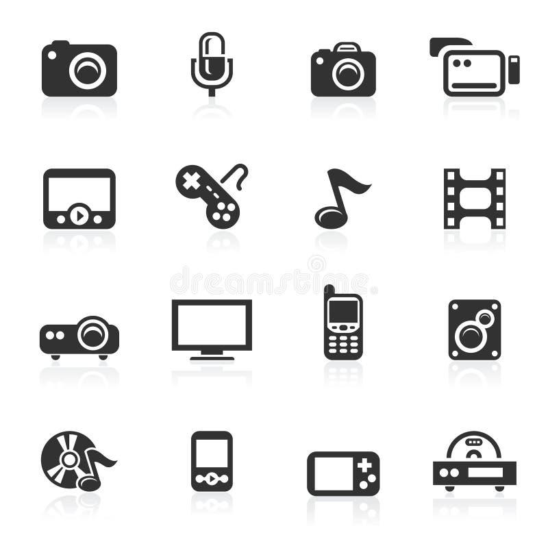 Multimedia-Ikonen - minimo Serie lizenzfreie stockbilder