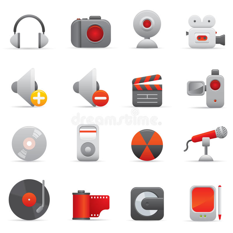 Multimedia-Ikonen | Rotes Serie 01 stock abbildung