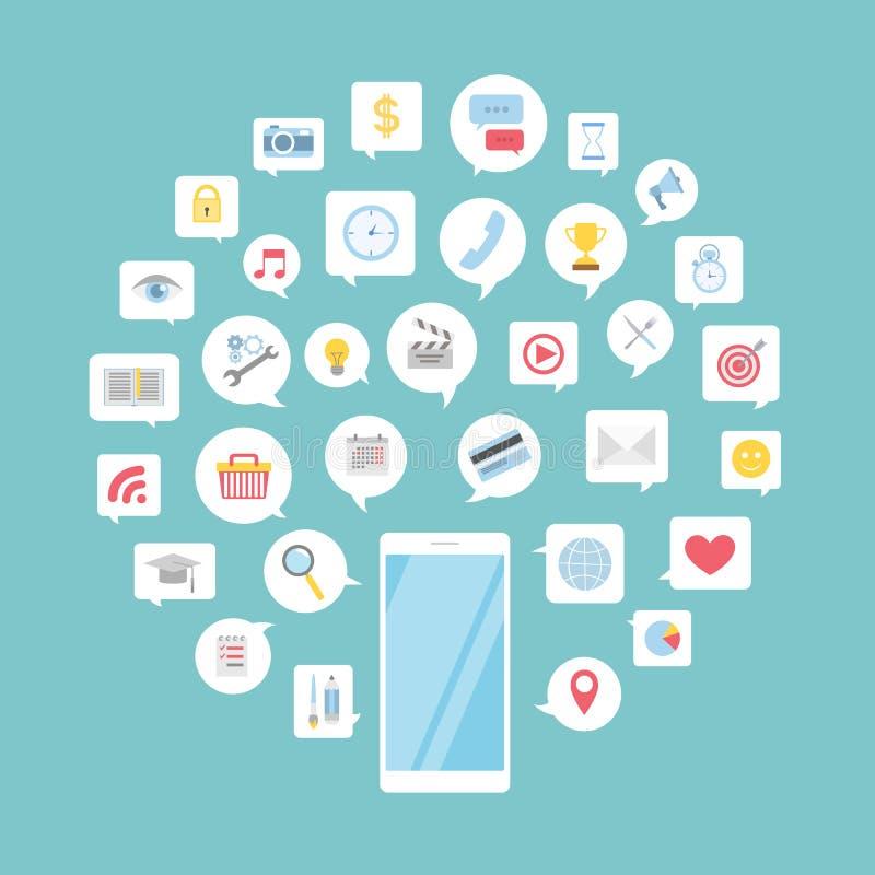 Multimedia im Smartphone stock abbildung
