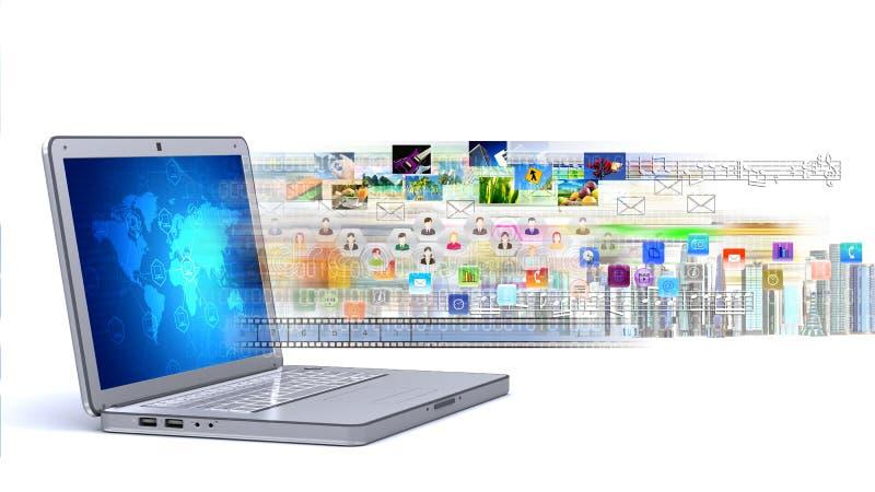 Multimedia- & internetbärbar dator vektor illustrationer