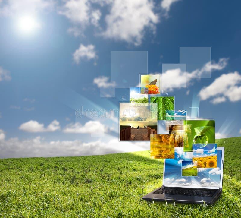 Multimedia laptop royalty free stock photos