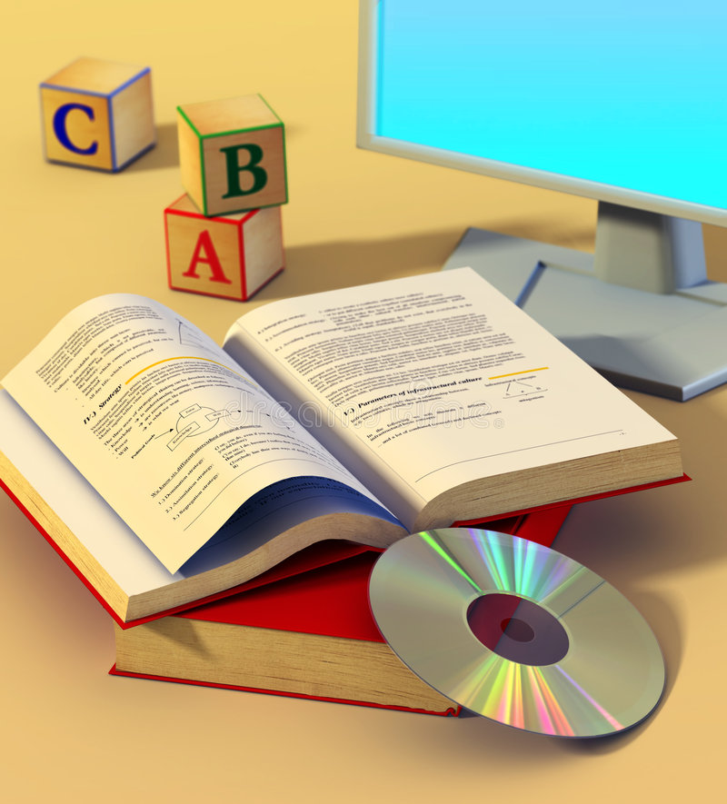 Multimedia learning. Two books, a cd rom and a monitor. Digital illustration royalty free illustration
