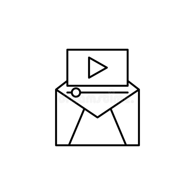 Multimedia on mail icon. Element of video products outline icon for mobile concept and web apps. Thin line multimedia on mail icon. Can be used for web and stock illustration