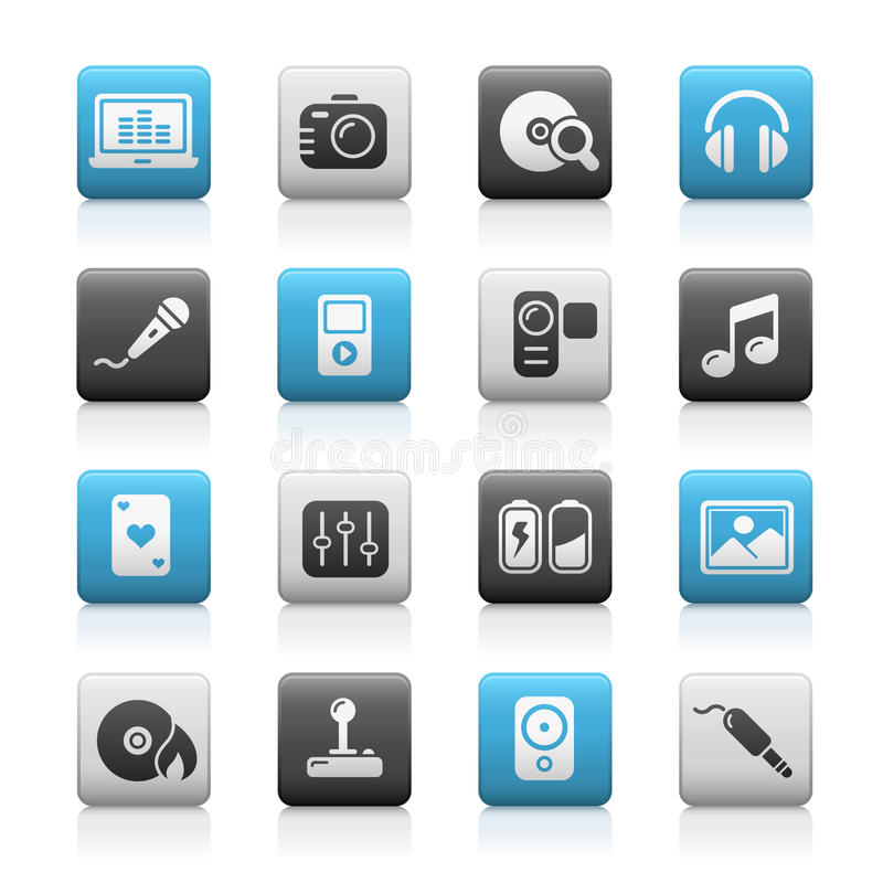 Download Multimedia // Matte Icons Series Stock Vector - Illustration of icon, microphone: 13257881