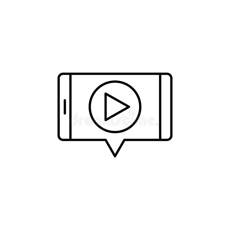 Multimedia on mobile phone icon. Element of video products outline icon for mobile concept and web apps. Thin line multimedia on. Mobile phone icon can be used stock illustration