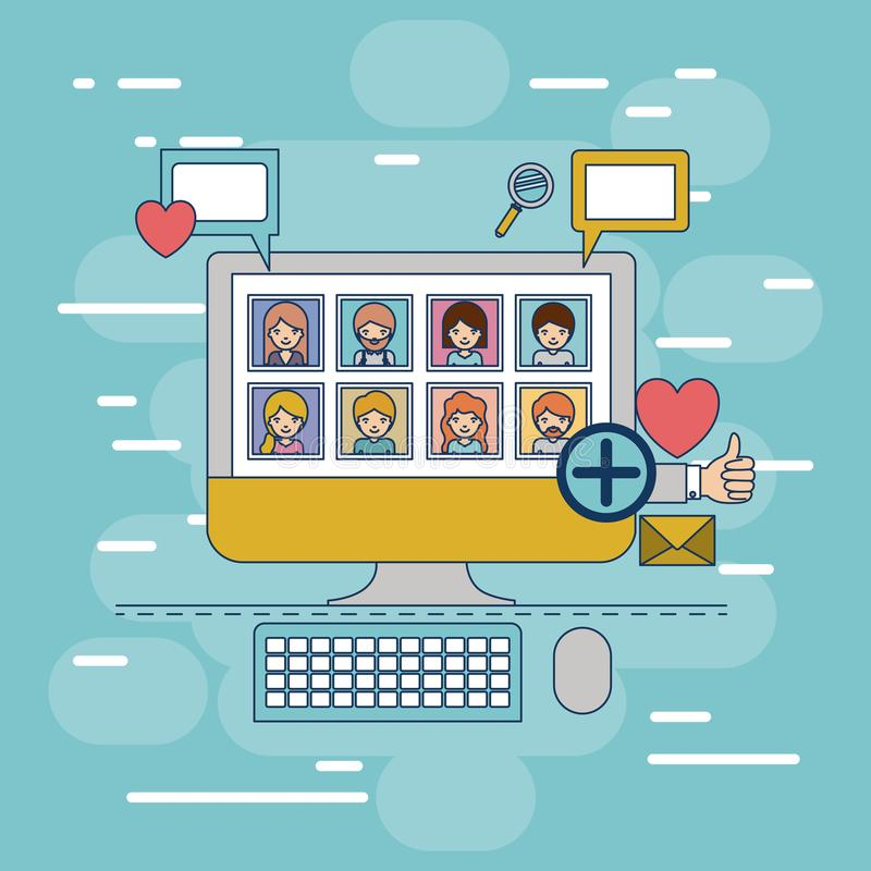 Multimedia photo application in device tech desktop computer with icons on colorful decorative background. Vector illustration stock illustration
