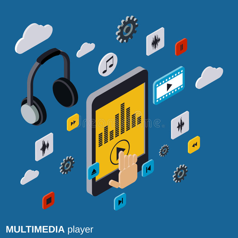 Multimedia player, portable modern gadget, smartphone vector illustration. Multimedia player, portable modern gadget, smartphone flat isometric vector stock illustration