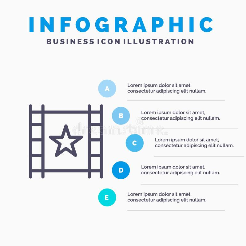 Multimedia, Player, Stream, Star Line icon with 5 steps presentation infographics Background stock illustration