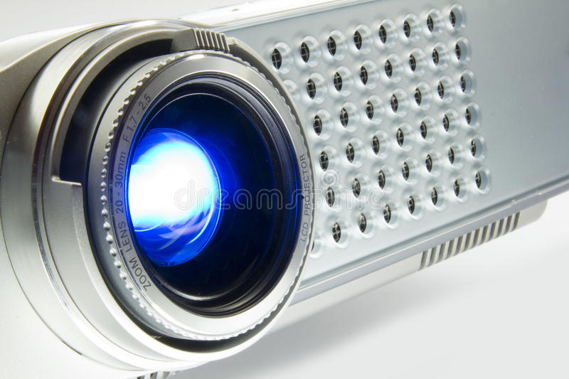 Multimedia projector. Over exposed photo of a multimedia projector stock photography