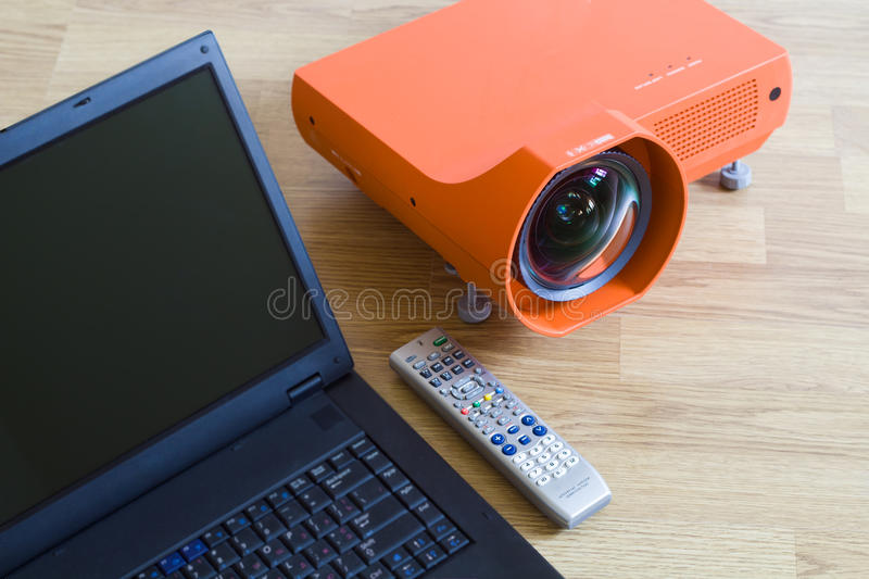 Multimedia projector and all to it. stock photo