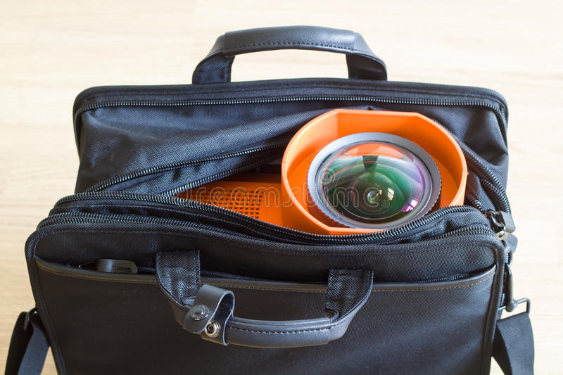 Multimedia projector in the bag. royalty free stock image