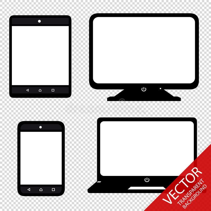 Multimedia Set Smartphone, Tablet, Laptop, Screen - Vector Illustration - Isolated On Transparent Background royalty free illustration