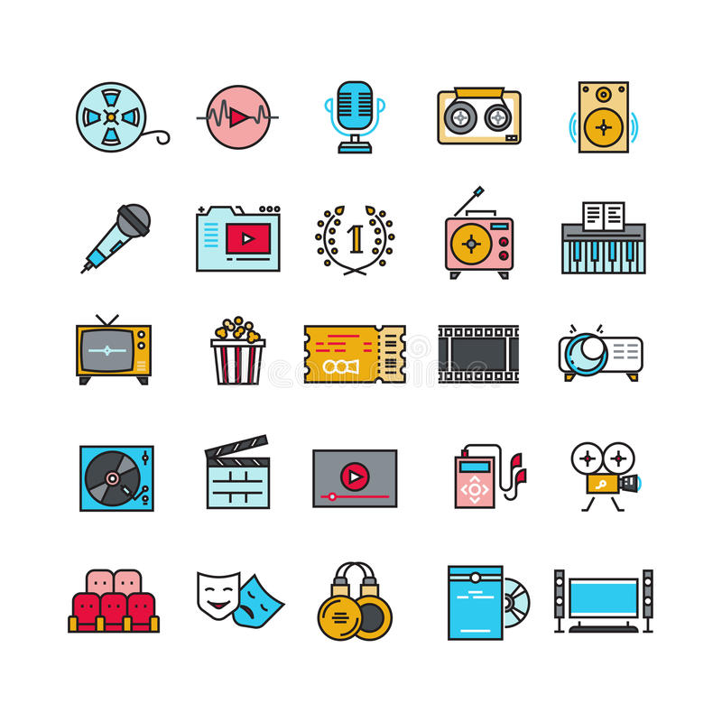 Multimedia sound audio music radio video thin line vector icons with flat elements royalty free illustration