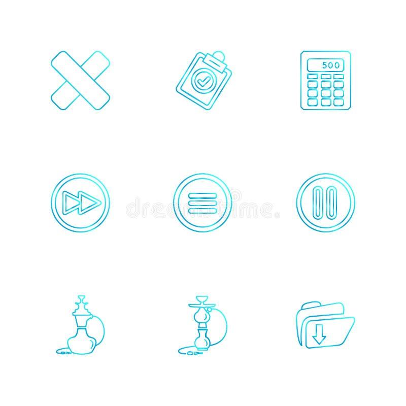 Multimedia , sound , buttons , eps icons set vector. Multimedia , sound , buttons , dwonload , upload , pin , key ,error , calcualtor , icon, vector, design royalty free illustration