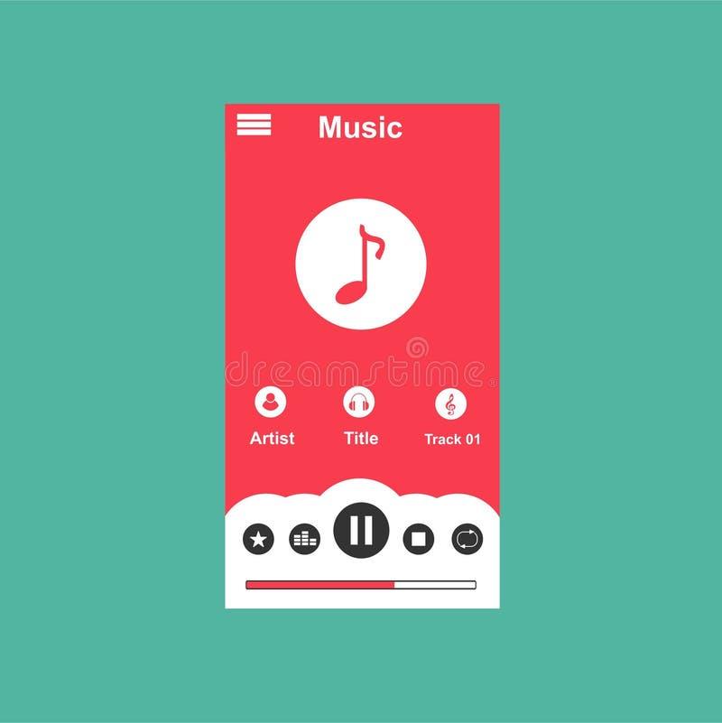 Multimedia-Spieler-Anwendung, Appschablone mit flacher Entwurfsart f?r Smartphones, PC oder Tabletten Sauber und modern - Vektor lizenzfreie abbildung