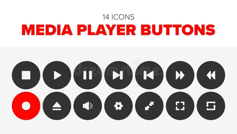 14 Multimedia-Spieler-Knöpfe vektor abbildung