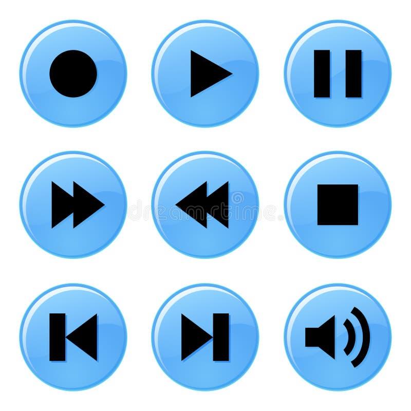 Multimedia-Spieler-Knopffarbvektorillustration stock abbildung