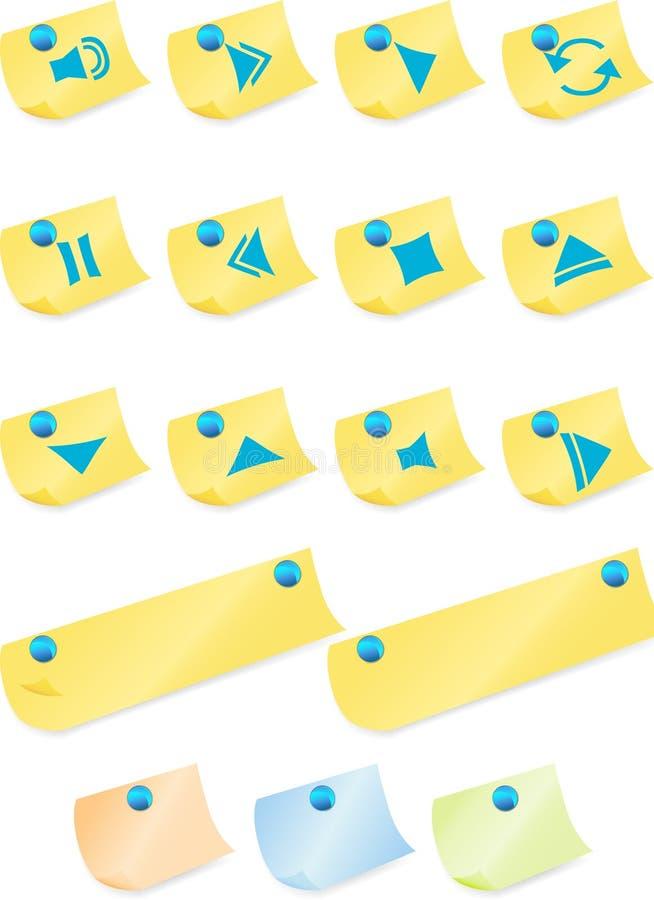 Multimedia-Tasten: Post-Itanmerkung stock abbildung