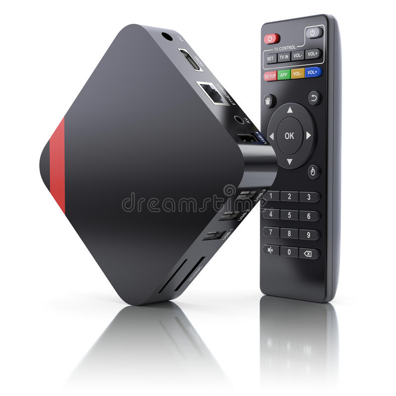 Multimedia and TV box receiver and player with remote controller. 3D illustration stock photo
