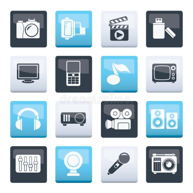 Multimedia- und Technologie-Icons über Farbhintergrund vektor abbildung