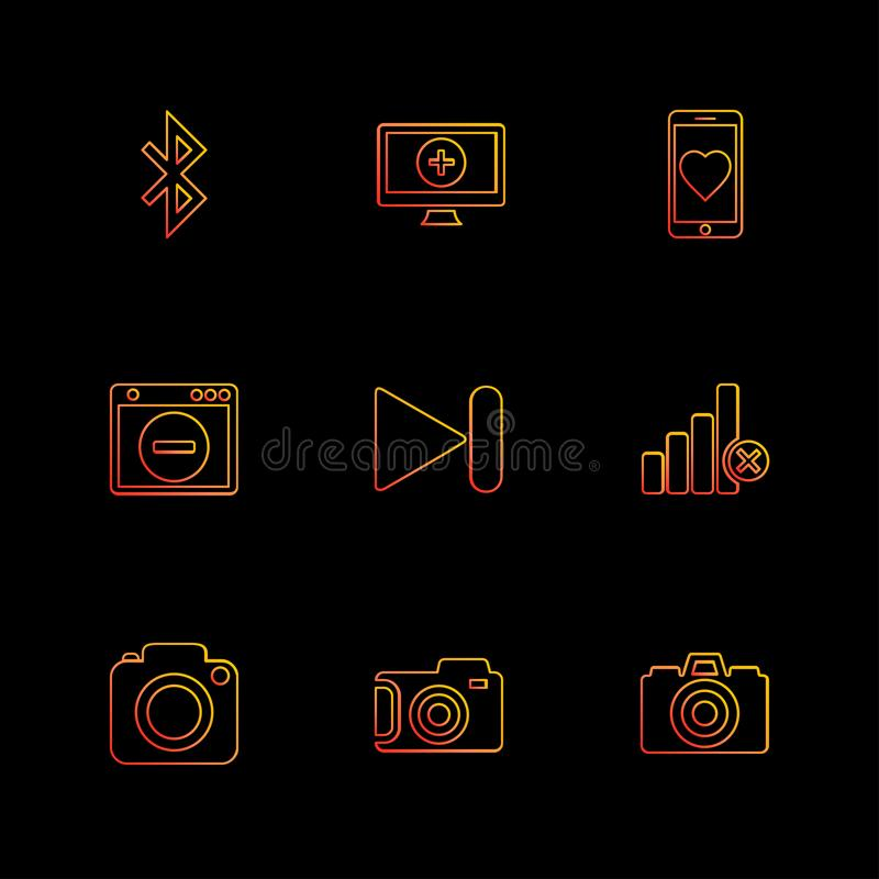 Multimedia , user interface , camera , technology , eps icons se. Multimedia , user interface , camera , technology , play , pause , camcoder , video , click royalty free illustration
