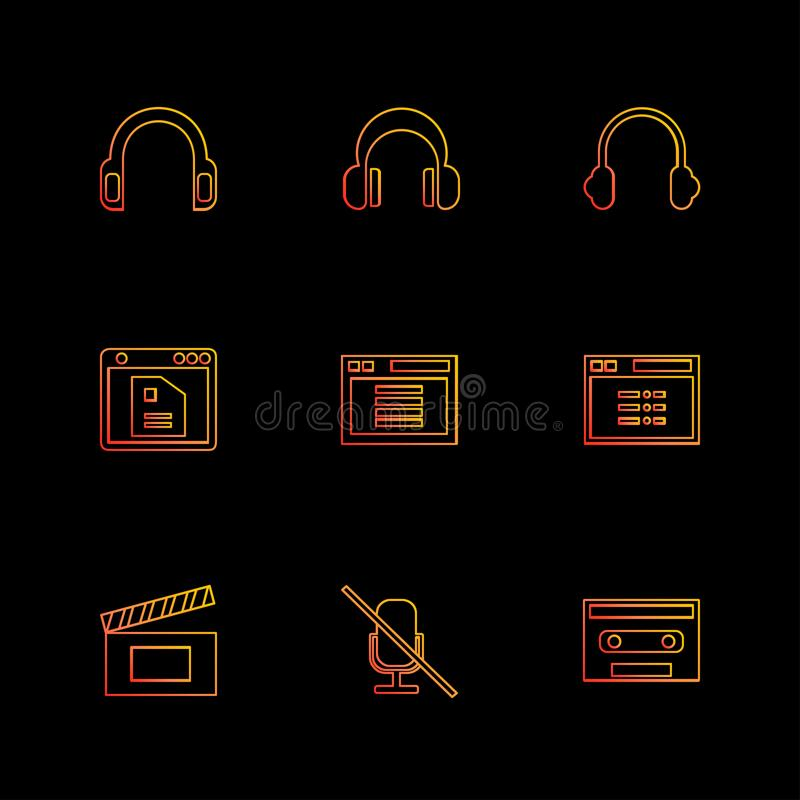 Multimedia , user interface , camera , technology , eps icons se. Multimedia , user interface , camera , technology , play , pause , camcoder , video , click stock illustration